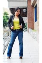 tight bootcut Levis jeans - dark brown g2000 blazer - black strappy liz claiborn