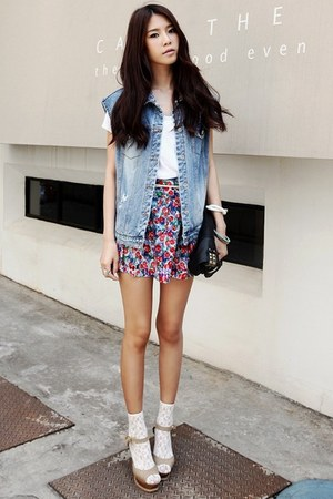blue denim vest - blue skirt