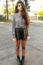 cynthia rowley top - military Mudd boots - Style & Co shorts