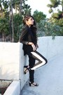 Black-structured-forever-21-blazer-black-track-kensie-pants