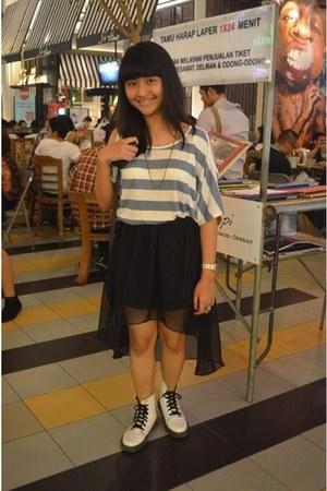 white boots - black skirt skirt