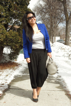 heather gray Alexander Wang bag - blue Topshop blazer - black Chanel sunglasses