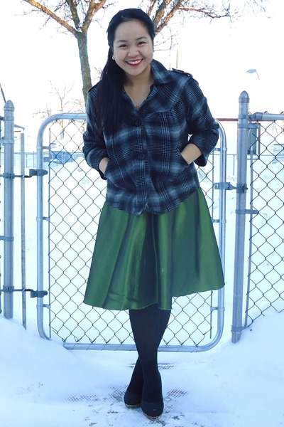 dark green dress - dark gray plaid jacket - black heels