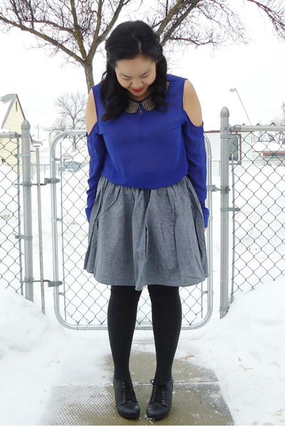 blue necessary clothing top - black Aldo shoes - dark gray Ardene socks