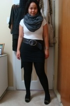 aa scarf - shirt - Divi skirt - Old Navy belt - tights - chelsea shoes