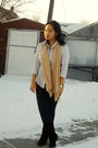 Gray-joe-fresh-style-top-black-garage-leggings-beige-scarf-brown-le-chatea