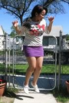 white Keds sneakers - off white Disneyland shirt - purple Zara skirt