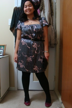 Urban Behaviour dress - Suzy Shier belt - tights - payless shoes