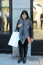 black Zara boots - black leather Only jacket - white striped TNA sweater