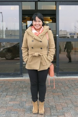 orange Rebecca Minkoff bag - brown asos boots - camel Zara coat
