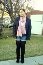 pink scarf - black surplus shop jacket - white joe fresh style top - blue Old Na