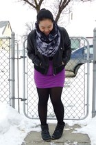 black olsenboye boots - black Only jacket - black tights
