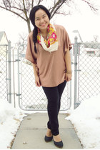 orange Forever 21 scarf - burnt orange H&M top - black Club Monaco pants