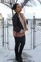 black olsenboye boots - dark brown Burlington jacket - tawny H&M top