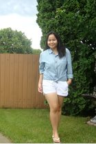 blue Gap shirt - white Old Navy shorts - white Havaianas