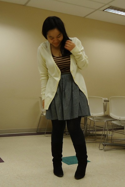 light yellow H&M cardigan - brown Sirens top - charcoal gray American Apparel sk