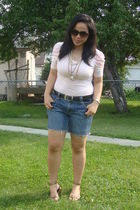 pink Forever 21 top - blue Old Navy shorts - gold Divi shoes - gold divi & siren