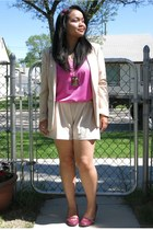 beige H&M blazer - beige urban behavior shorts - hot pink Forever 21 top