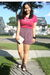 pink hollister t-shirt - purple Urban Outfitters shorts - white Divi shoes - whi