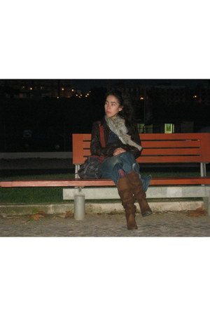 brown Zara boots - dark brown Bershka jacket - olive green Calzedonia scarf - na
