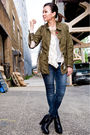 White-31-phillip-lim-blouse-green-jacket-blue-jeans-black-sam-edelman-shoe