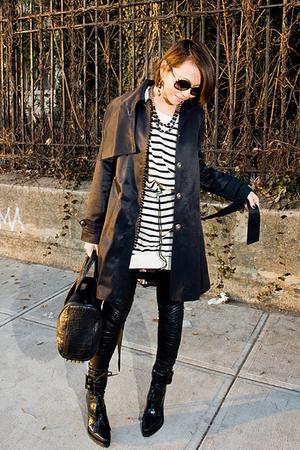 black coat - black leggings - black a wang shoes - white acne dress - black a wa