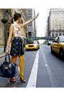 Blue-coach-accessories-white-fornarina-t-shirt-blue-skirt-gold-h-m-tights-