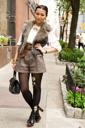 brown H&amp;M shorts - brown belt - brown Collection B vest - white blouse - black a