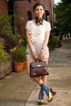 white Rebecca Taylor blouse - gold shoes - beige UO shorts - blue sample socks