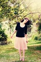 black Tulle shirt - salmon chiffon asos skirt - black ballet flats