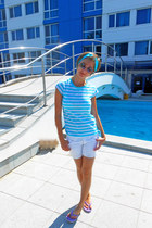 sky blue striped H&M t-shirt - white Zara shorts - sky blue Orsay accessories