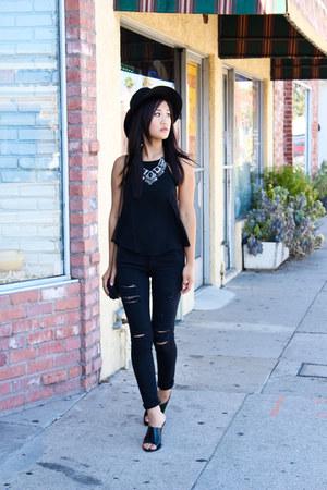 Forever 21 necklace - Frame jeans - halter salsit top - Zara wedges