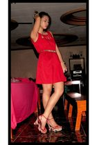 red Petit Monde dress - Matthews shoes - gold Louis Vuitton belt - gold accessor