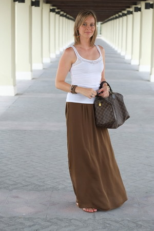dark khaki Zara skirt - dark brown Louis Vuitton bag - white H&M vest