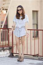 blue f21 shirt - beige Prada shoes - blue H&M
