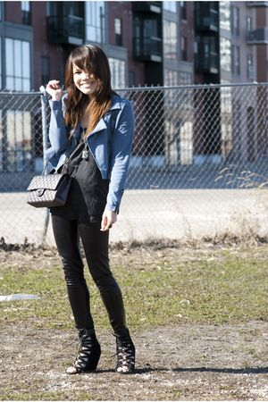 black Aldo shoes - blue H&amp;M blazer - gray Chanel purse