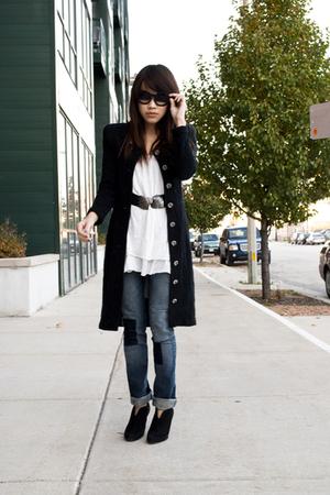 coat coat - Forever21 dress - Topshop jeans - Nine West boots