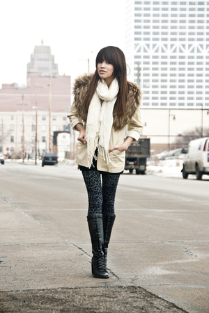 black Jeffrey Campbell boots - beige vintage blazer - brown H&amp;M scarf - black Fo