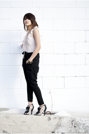 Mango pants - Forever 21 blouse - Chanel boots