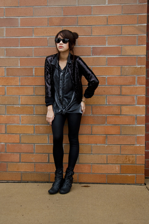 H&amp;M jacket - vintage shirt - American Apparel tights