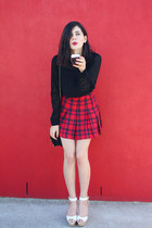 red h&m divided skirt - forest green Glassons blouse - shellys london sandals