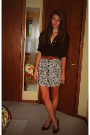 black vintage blouse - pink vintage skirt - black vintage shoes - brown vintage
