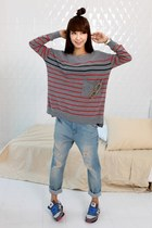 heather gray sweater - light blue G Star jeans - charcoal gray New Balance shoes