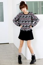 silver Ardene sweater - black supre skirt - black Goodwill boots