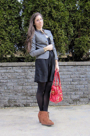 Forever 21 jacket - francescas dress - Target wedges - DKNY watch