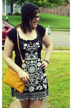mustard thrifted purse - black embroidered dress - black hat