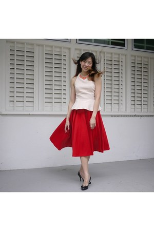 red asos skirt - peach asos top