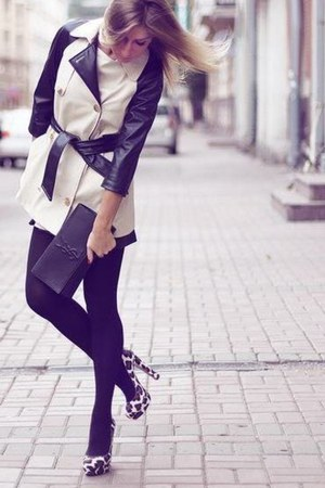 coat - purse - heels - stockings