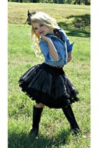 black boots - denim shirt - animal print top - black skirt - hair accessory