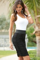 black skirt - earrings - bracelet - white top